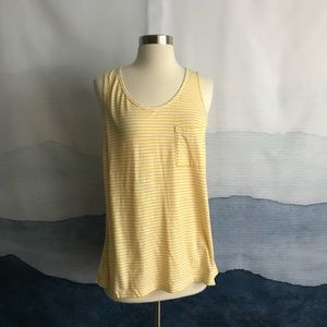 J. Crew Factory Yellow Striped Pocket Tank Top